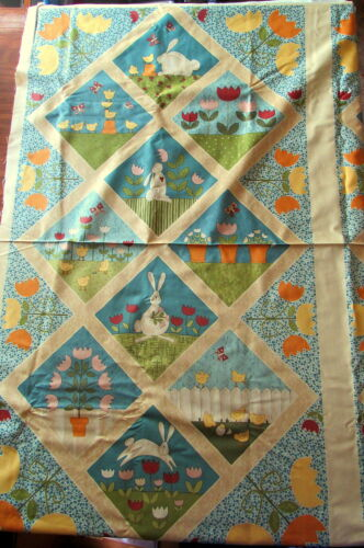 "Quilt Top//Wallhanging /""Bunny Hop/"" Andover Fabric 24/"" x 44/""  Bunnies//Flowers"
