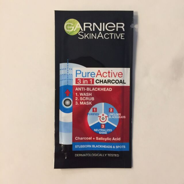 Garnier Pure Active 3-In-1 Charcoal Face Wash Sample Free Post