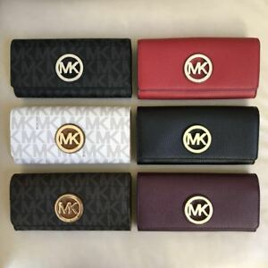 81da8d30a86a NWT Michael Kors Fulton Flap Continental Leather PVC Wallet Various ...