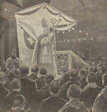 A1148 Vescovo di Sion benedice la Galleria del Sempione - Stampa Antica del 1905