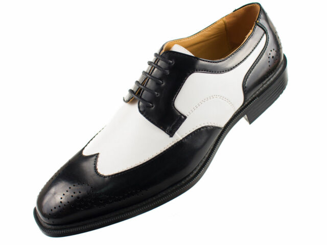 Bolano Men's Faux Leather 2 Tone Black White Lace Up Wing Tip Oxford Dress Shoes