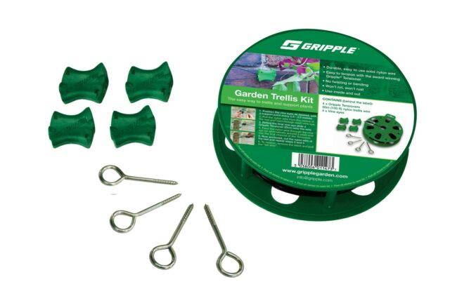 Gripple Garden Trellis Kit Tensioners 30m Nylon Wire Vine Eyes Garden
