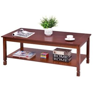 48 X 48 Coffee Table.Details About 48 X 23 8 X 18 Rectangular Wood Cocktail Coffee Table With Shelf Furniture Us