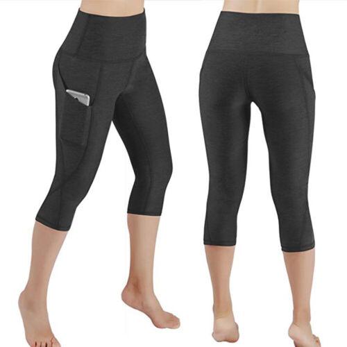 Women/'s 3//4 Capri Yoga Pants High Waisted Pocket Sports Gym Workout Trouses D15