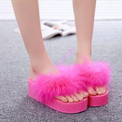 Summer Korean Flat Womens Stylish Fluffy Platform Thong Beach Casual Flip Flops