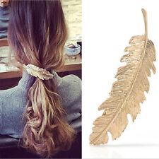 Women Gold Leaf Feather Hair Clip Hairpin Barrette Bobby Pins Hair Accs RC006