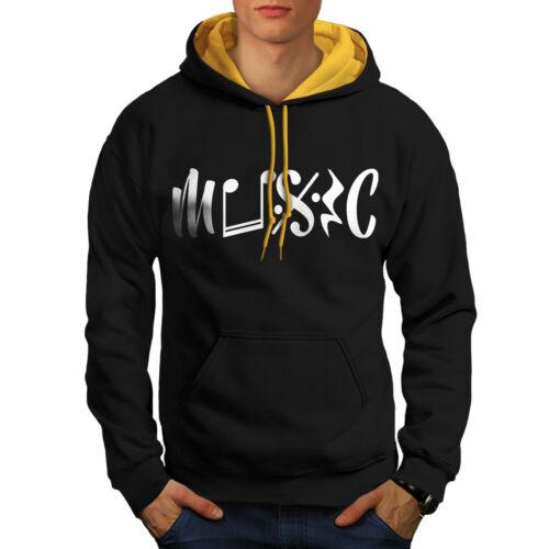 Wellcoda Music Lover Mens Contrast Hoodie Art Casual Jumper