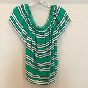LINE & DOT Off Shoulder Striped Blouse GREEN Multicolor Size Small NEW