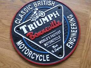 FABULOUS LARGE CAST IRON WALL PLAQUE ADVERTISING SIGN *TRIUMPH MOTORCYCLES*