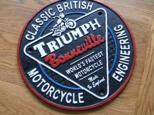 LARGE HEAVY CAST IRON WALL PLAQUE ADVERTISING SIGN BONNEVILLE BRITISH TRIUMPH