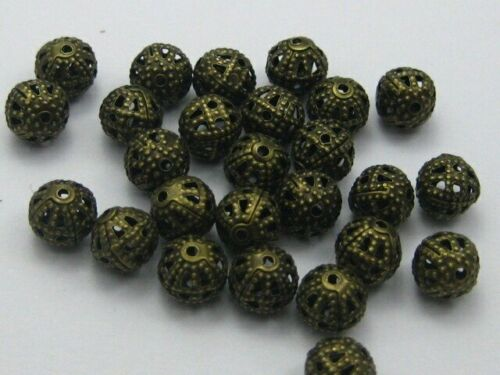 Lot 10 ou 20 Perles 8mm Filigrane Bronze Rond Metal Charms Creation Bijoux
