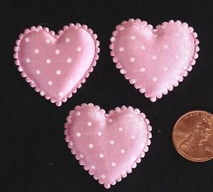 10-Hearts-Pink-white-polka-dots-Fabric-heart-Baby-Girl-shower-Valentines-cards