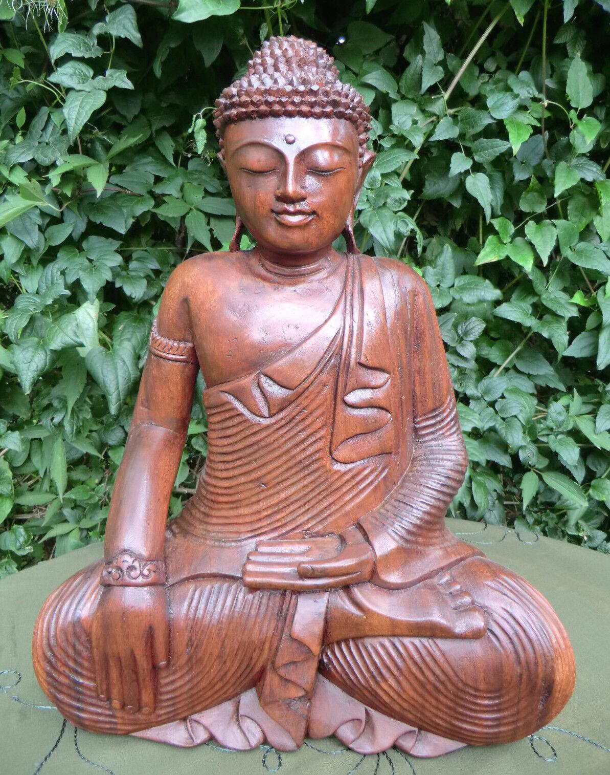 50 cm Buddha Holz Meditation Schnitzerei Erdberührungsgeste  Bhumisparsa Mudra
