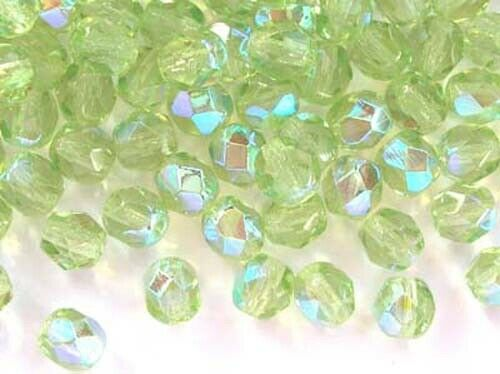 5040ab 6mm 25 Peridoto Verde Ab Cristal checo fuego pulido Beads