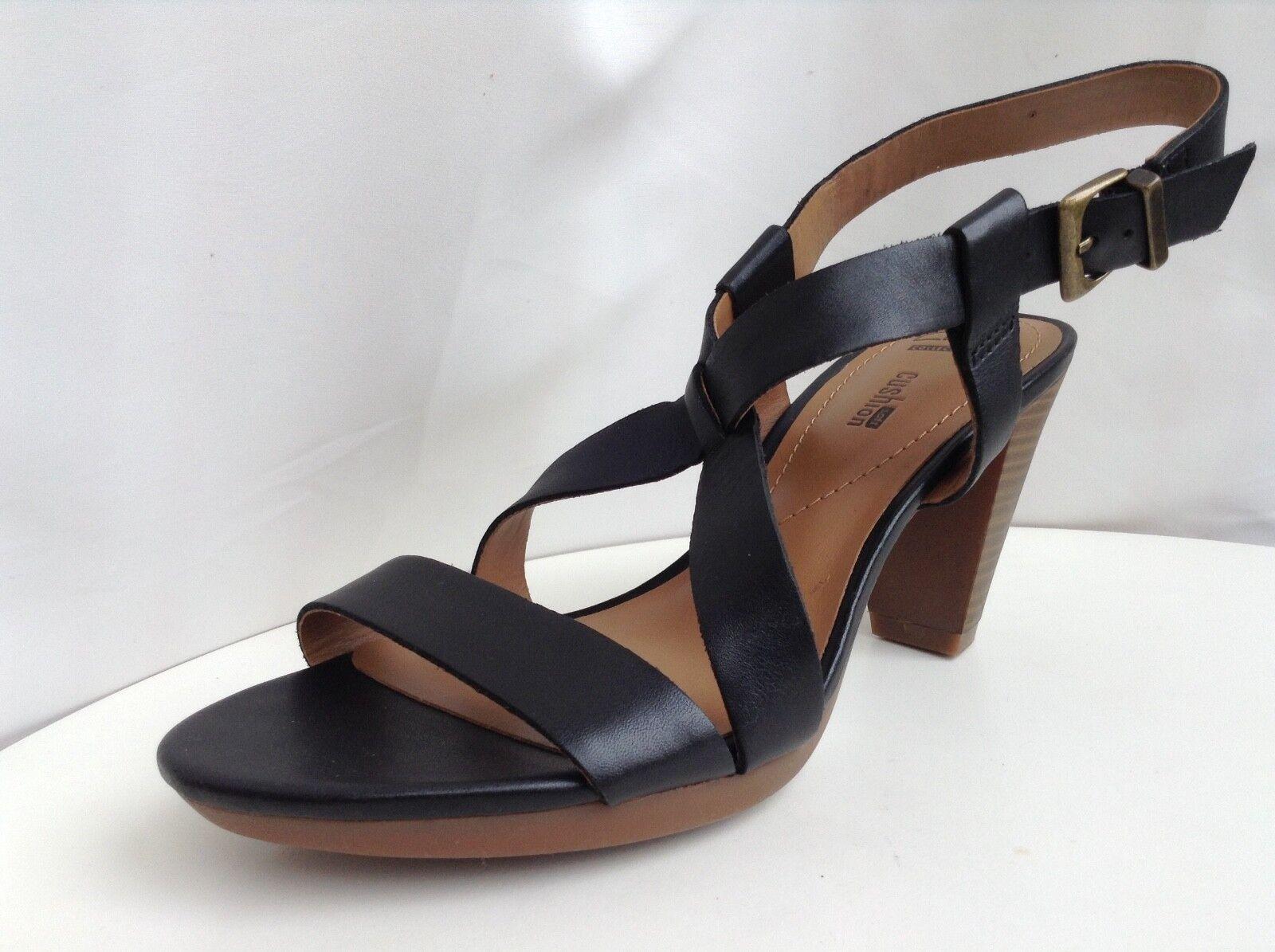 Clarks Womens Jaelyn Fog Black Leather Sandals size UK 5.5D