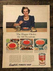 RARE-Vintage-1940-Campbell-039-s-Tomato-Soup-Ad-Colorfoto-11-5x15-inch-FRAME-IT