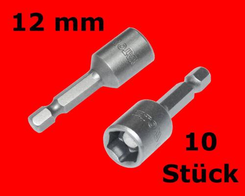 10 x Stecknuss Bits 12mm Neodym Magnet 1/4 Akkuschrauber Steckschlüssel Y1507