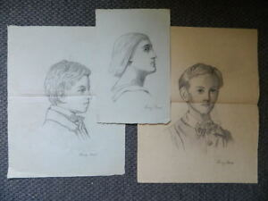 LOT-3-grands-DESSINS-au-crayon-signe-Hervy-Rene-portrait-c-1900