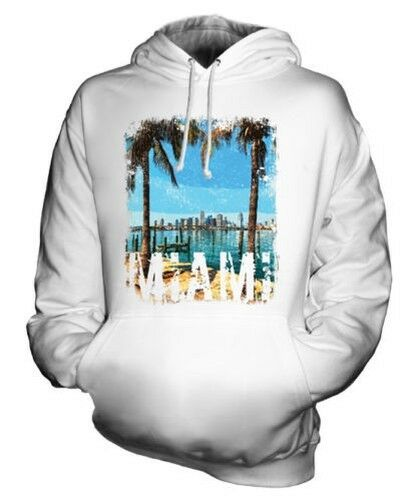 MIAMI GRUNGE PRINT UNISEX HOODIE SWAG TOP BEACH FLORIDA LONG SLEEVE JUMPER TOP