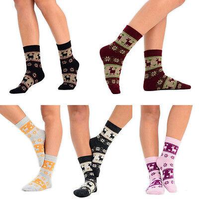 1 Or 6 Pairs Ladies Christmas Socks Fairisle Heart Deer Snowflake Pattern Lot Guter Geschmack
