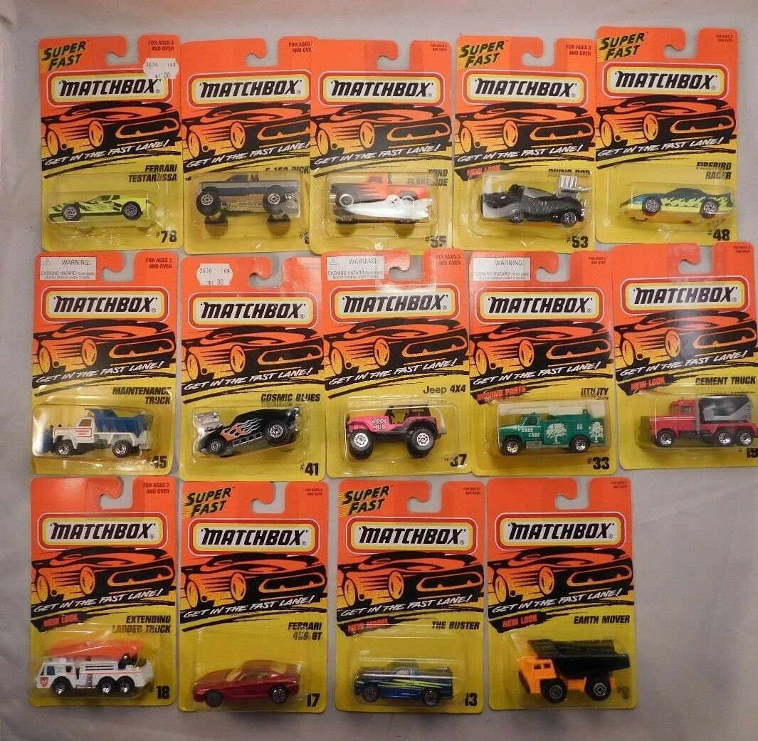 Lot of 14 from the 1996 Matchbox Get In The Fast Lane series MIP