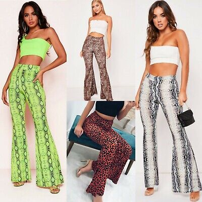 RRP 24.99 Multi Floral Print High Waisted Skinny Kick Flare Trousers Pants UK