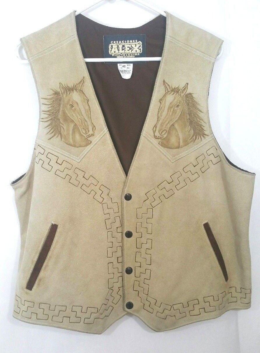 Herren Western Cowboy Leder Vest Embossed Horse Größe 42 Mexico Rancher GORGEOUS