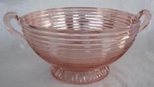 "Anchor Hocking Depression Glass Manhattan Pink Fruit Bowl Ribbed Handles 8.75x5"""