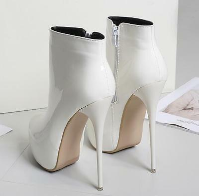 Chic New Fashion Womens Shoes Ankle Boots Patent Leather High Heels Stilettos US