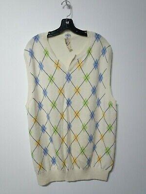 Trend Mark J Men's Clothing Press Men's Argyle Knit Sweater Vest Cream Blue Sz L Nwt 95
