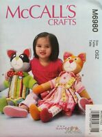 """Mccall's 6980 """"learn To"""" Raccoon And Cat Dolls & Removable Clothes Pattern"""
