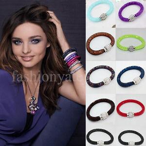10-Color-Mesh-Magnetic-Stardust-Crystal-Bracelet-Bangle-Clasp-Single-Double-Wrap