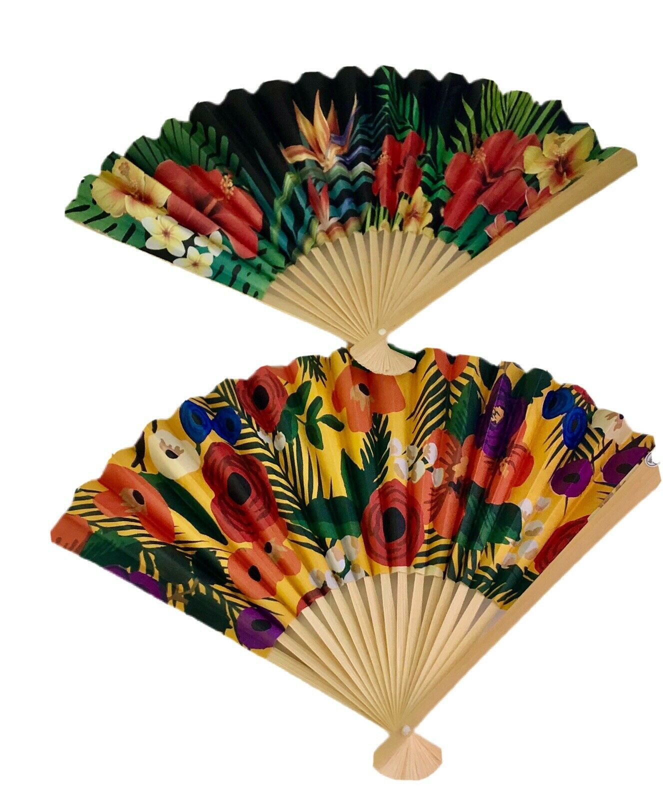 Set of two cute hand fans in flowers