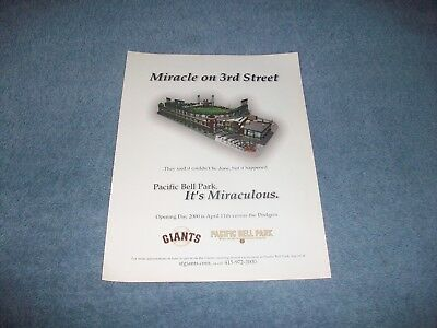 "2000 San Francisco Giants Pac Bell Park Apertura Giorno Ad "" Miracle On 3 Street"