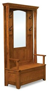 Image Is Loading Amish Rustic Wood Hall Tree Storage Bench Mirror