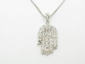 PLATINUM-STERLING-SILVER-DIAMOND-SET-WHITE-SAPPHIRE-HAND-OF-GOD-HAMSA-PENDANT