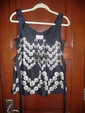 *NWT* Anthropologie Yoana Baraschi Black Ivory Floral Sleeveless Top S