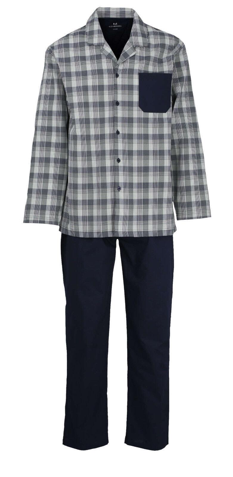 Götzburg Web-Schlafanzug Gr. 3XL Popelin-Pyjama Größe: 58 grün kariert geknöpft