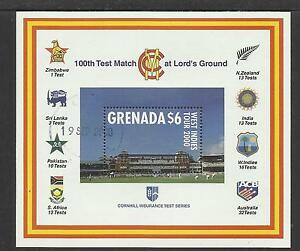 GRENADA-2000-LORD-039-S-CRICKET-100th-CENTENARY-TEST-MATCH-Souv-Sheet-USED
