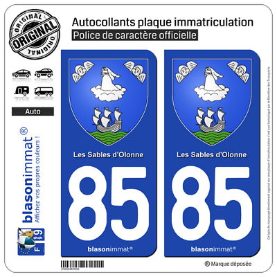 Armoiries 85100 Profit Small 85 Les Sables D'olonne 2 Stickers Autocollant Plaque Auto