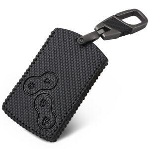 Complexé Voiture En Cuir Smart Key Cover Case Pour Renault Clio Scenic Megane Duster Carbone-afficher Le Titre D'origine