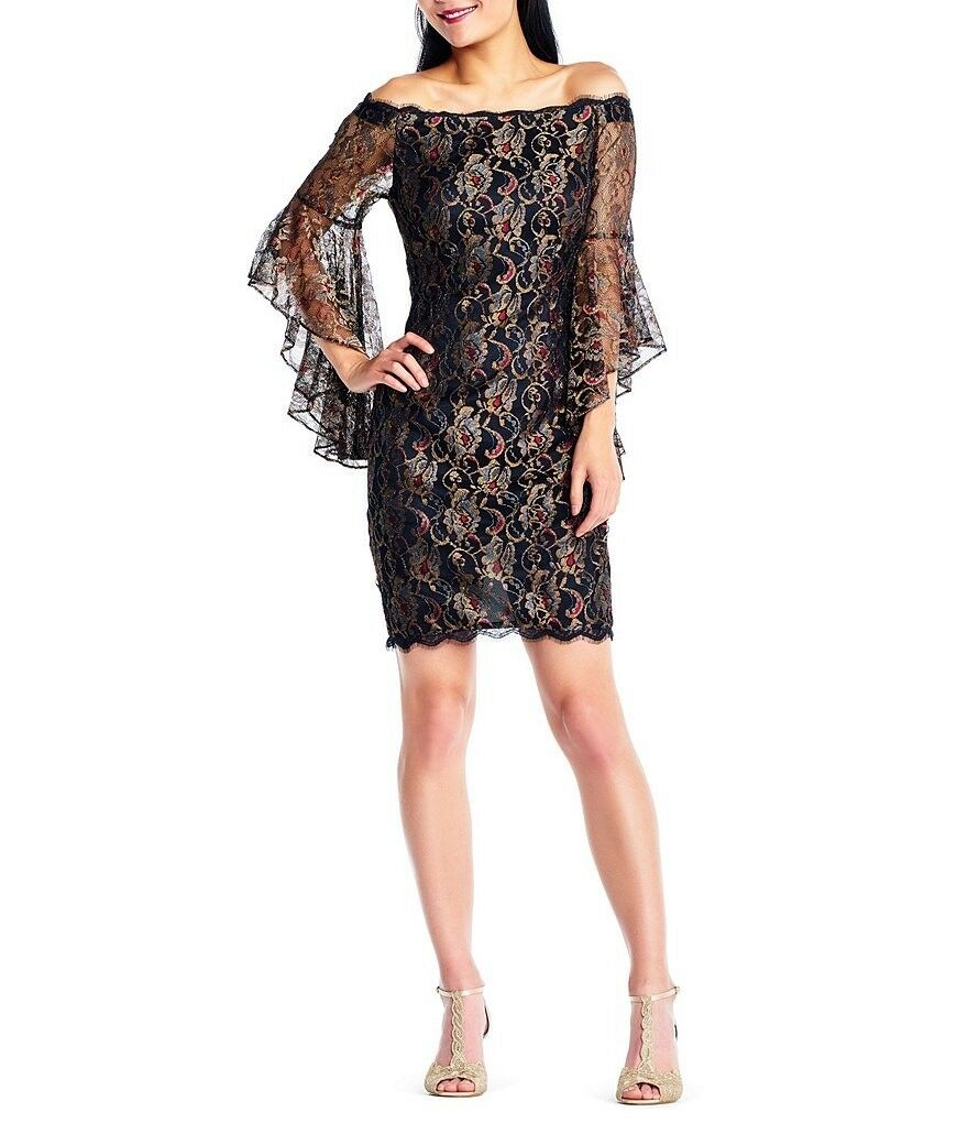 Adrianna Papell Metallic Lace Off the Shoulder Dress
