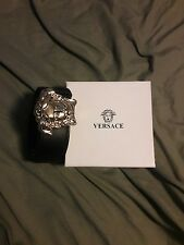 Smooth canvas leather versace belt