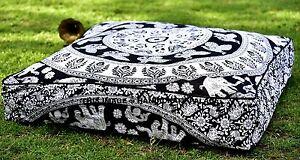 Indien-Elephant-Mandala-Oreiller-Carre-Hippie-Sol-Coussin-Housse-Chien-Pets