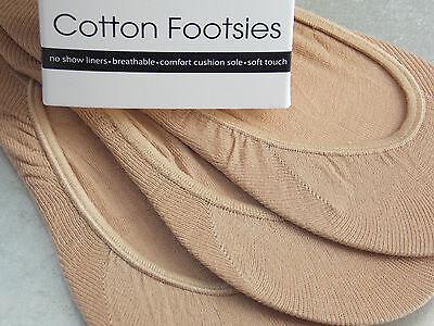 Señoras Algodón Natural Manitas/footlets No Show Calcetines 3 Pares Pack Zapato los trazadores de líneas