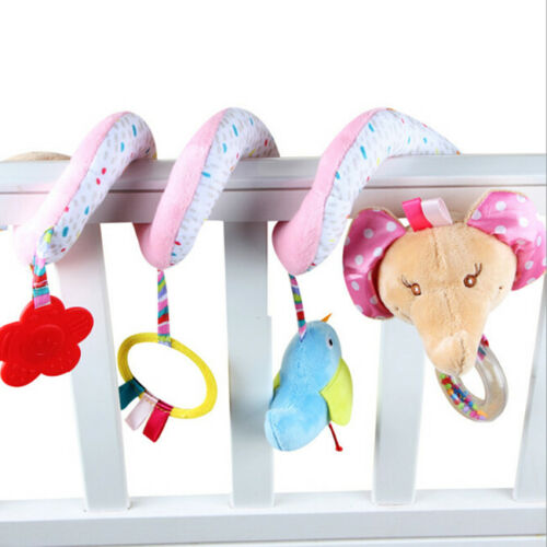 Kid Baby Crib Cot Pram Bed Stroller Hanging Plush Toy Elephant Hand Bell DS