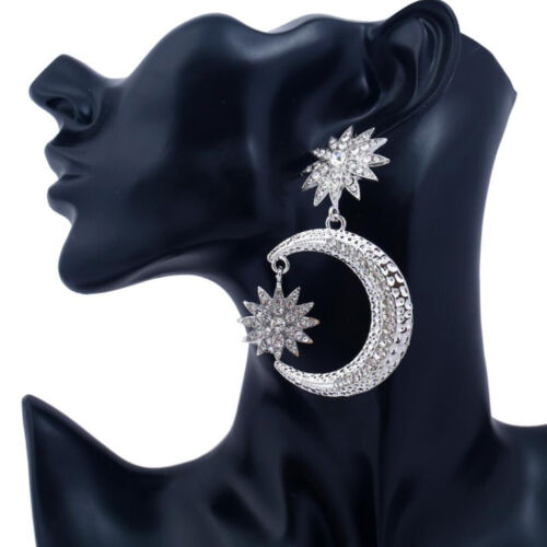 New Fashion Elegant Women Hollow Moon cristal strass étoile Boucles D/'oreilles Bijoux