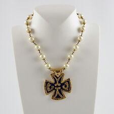 Yves Saint Laurent YSL signed Necklace rare vintage gold enamel cross pendant