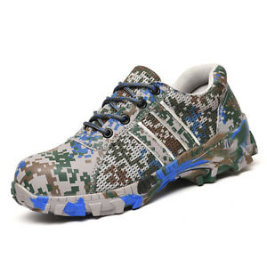 Men-039-s-Classics-Camouflage-Safety-Work-Lace-Up-Breathable-Steel-Toe-Combat-Shoes