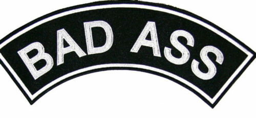 Bad Ass Patch Top Rocker Black Back Patches for Vest Jacket